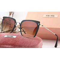 MIUMIU Women Casual Sun Shades Eyeglasses Glasses Sunglasses Black+Brown G-A-SDYJ