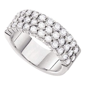 14kt White Gold Womens Round Pave-set Diamond Triple Row Wedding Band 1.00 Cttw - FREE Shipping (US/CAN)
