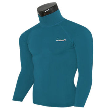 Base Layers Stand collar T shirts Mens Compression tights Long sleeve Fitness Thermal Tops Gear M-XXL