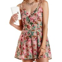 Beige Combo Strappy Floral Print Romper by Charlotte Russe