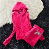 Juicy Couture Studded Colorful Flowers Velour Tracksuit 6012 2pcs Women Suits Rose