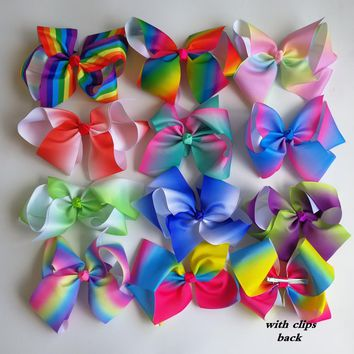 Retail 1pc JOJO 8'' grosgrain ribbon hair bows With alligator hair clips boutique rainbows bow girls hairbow For Teens Gift