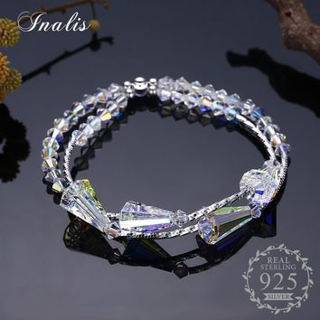 INALIS 925 Sterling Silver Clear Crystal Bracelets for Women Fine Jewelry Charm Bangles 2018 Valentine's Day Gift