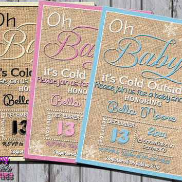 WINTER Baby SHOWER INVITATION - Winter Baby Shower Invite - Snowflake Baby Shower - Christmas Baby Shower Little Snowflake Pink Blue Burlap