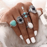 5pcs/Set Women Bohemian Vintage Silver Stack Rings Above Knuckle Blue Rings Set