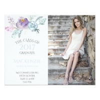Pale Blue Lavender Floral Photo Graduation Card