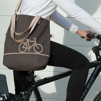 VariableHandbag, Bike Bag, Bicycle Tote, Three-ways tote bag, Big Bag, Foldover Bag with genuine Leather Straps, Zippered Pouch