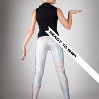 Ready To Ship! Holographic Rainbow Leggings, Futuristic Clothing, Hologram Pants, Cyber Space Club Wear, Rave Club Outfit, by LENA QUIST