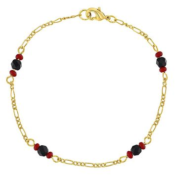 18k Gold Plated Evil Eye Protection Simulated Azabache Bracelet for Teens Ladies