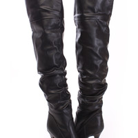 Black Slouchy Thigh High Boots Faux