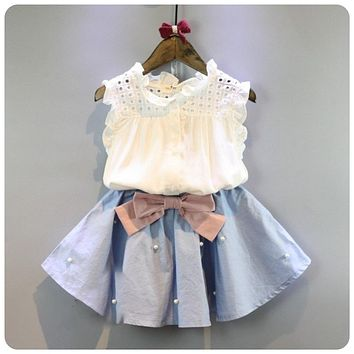 Baby Girl Summer Outfit with Denim Pearl Skirt and Eyelet Top