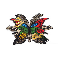 Rocker Butterfly Embroidered Applique Iron on Patch