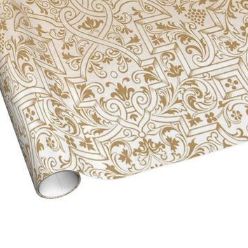 Gold Franco-Oriental Filigree Pattern Fancy Design Wrapping Paper