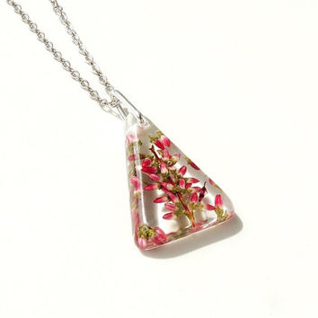 Heather Necklace, Real Flowers Resin Triangle Pendant, Botanical Jewelry, Resin Jewelry, Heather Jewelry, Floral Jewelry, UK (134)
