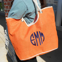 Oceanside Orange Jute Tote Bag  Monogram Font Shown NATURAL CIRCLE in navy