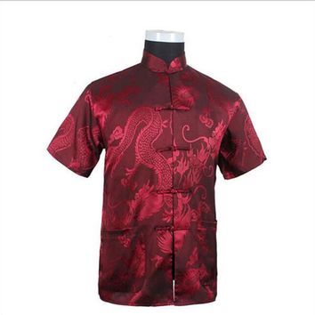 Burgundy New Vintage Chinese Men's Silk Satin Kung Fu Shirt Top with Pocket Size S M L XL XXL XXXL Free Shipping LD33