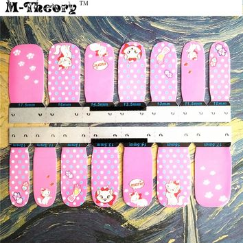 Cute Women Fashion Nail Stickers Adhesive Nails Wraps Durable Waterproof 1-2 Weeks Marie Cat