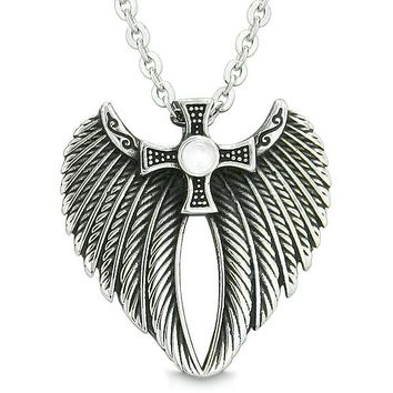 Angel Wings Celtic Viking Cross Magic Powers Amulet White Simulated Cats Eye Pendant Necklace