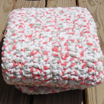 Crochet Baby Blanket, Floral Photo Prop, Baby Girl Soft Afghan, Crib Sized Afghan, Handmade Crochet Afghan