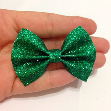 Mini Green Glitter Canvas Hair Bow on Alligator Clip - 2.5 Inches Wide - AFFORDABOW Line - Affordable and High Quality Hair Bows