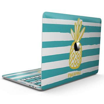 Striped Mint and Gold Pineapple - MacBook Pro with Touch Bar Skin Kit