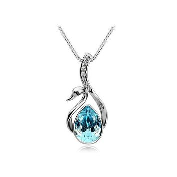 Beautiful Silver Plated Crystal Swan Pendant Necklace Chain