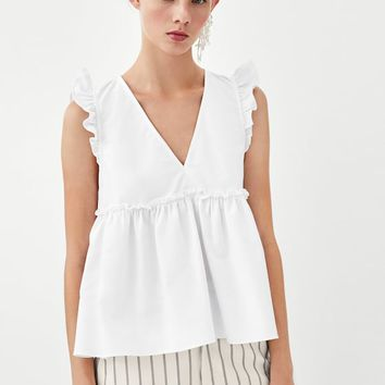 FRILLED TOP White - S