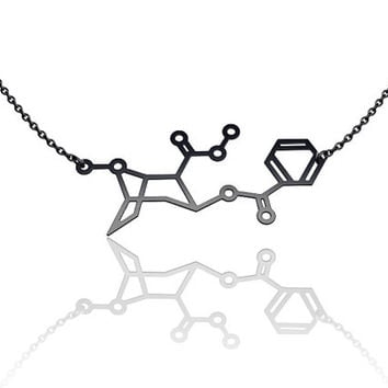 Cocaine Molecule Necklace oxidized black 925 silver, chemistry jewelry, chemistry necklace