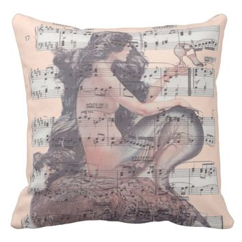Vintage Mermaid On Sheet Music Pillow