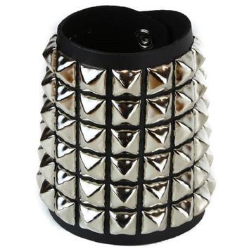 6 Row Silver Pyramid Stud Quality Black Leather Wristband Cuff Bracelet