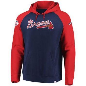 Atlanta Braves Majestic MLB Navy/red Attitude Pullover Hoodie