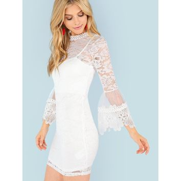 White Lace Overlay Bell Sleeve Dress
