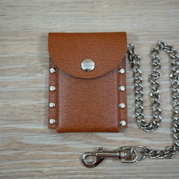 Minimalist Leather Wallet, Leather Wallet Men, Leather Card Holder, Slim Chain Wallet, Front Pocket Wallet, Mens Gift