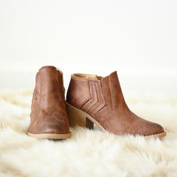 Brown Stacked Heel Bootie
