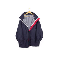90s NAUTICA jacket - vintage 1990s parka - navy blue - pin stripes - mens medium - large