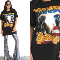 Vintage 90s HARLEY DAVIDSON // American Legacy T Shirt // Cow Skull // Hipster Bohemian Gypsy // XS Extra Small / Small / Medium / Large