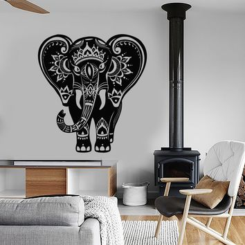 Vinyl Wall Decal Indian Elephant Animal Hindu Stickers Unique Gift (ig4162)
