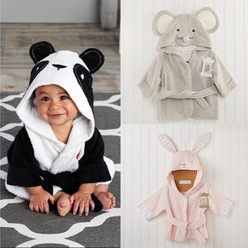 Soft Cartoon Animal Baby Hooded Bathrobe Bath Towel Bath  Bathing Robe [9325365764]