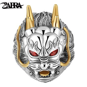 ZABRA Luxury 925 Sterling Silver Dragon Ring  Big Adjustable Size Red Stone Cubic zirconia Punk Mens Rings Gothic Biker Jewelry
