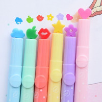 New 6pcs Candy Colors Stationer  multi shapes Highlighters Marker Pens Writing