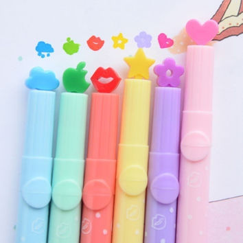 New 6pcs Candy Colors Stationer  multi shapes Highlighters Marker Pens Writing = 1958067204
