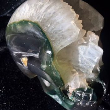 """LARGE 4.5"""" GREEN MOSS AGATE Carved Crystal Skull, Very Realistic, W Geode"""