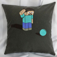 Minecraft Confused Steve tshirt made into a pillow cover.