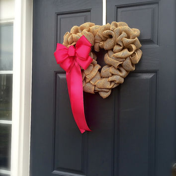 Heart Wreaths Valentine's Day Door Decor Pink Burlap Heart Wreath Gift Love Heart Decor