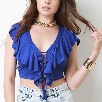 Jersey Knit Ruffle Tier Lace Up Crop Top