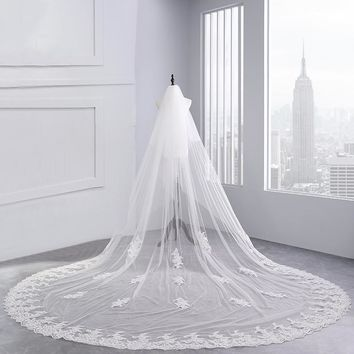 White Ivory Cathedral Wedding Veils Long Lace Edge Bridal Veil two layer veil comb Wedding Accessories