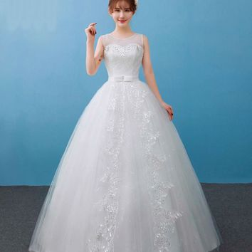 Simple White Princess Adjust Lace with Sequined Wedding Dresses Elegant Bridal Gowns