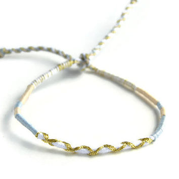 Sparkly Gold and White Friendship Bracelet and Anklet, White, Grey and Tan Wanderlust Friendship Anklets
