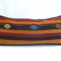 Kilim Lumbar Pillow cover with stripes