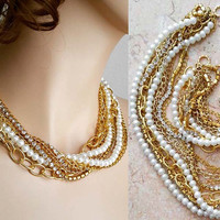 Bridal Chunky Jewelry Set Gold and Pearl Necklace Bracelet, Wedding Jewellery Set Pearl Rhinestone Statement Jewelry
